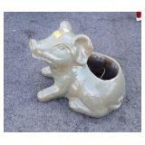 "Ceramic Pig Garden decor Planter, about 10"" high"
