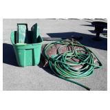 Lawn Gardening Lot, Water hose, poly tarp, tote