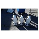 "3 Outdoor Penguins with Candy Canes 24"" tall,"