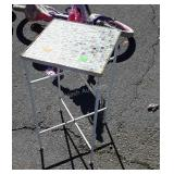 """Plantstand with mosaic glass tile top, 12x24"""""""