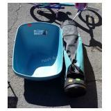 2-high back cat liter pans, golf club bag