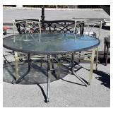 "3pc Outdoor Table lot, 54"" round glass top Table,"