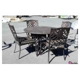 5pc Outdoor Table Set, 4 aluminum framed Chairs