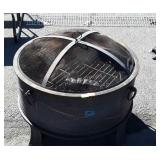 "Outdoor Firepit, dome mesh screen lid, 24"" dia."