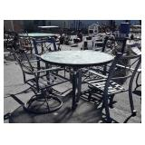 5pc Outdoor Table Set, 4 aluminum framed chairs-2