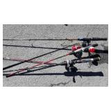 3 Fishing Rods with reels, kid