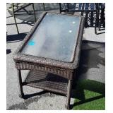 Outdoor all weather wicker Coffee Table, glass