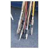 Group of Fishing Rods, cork and plastic handled,