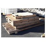 5 Wood Pallets, three are 44x68, one is 32x54,