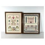 Needlework samplers, alphabet framed and under