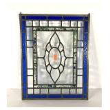 Leaded glass sun catcher panel, 16x20, couple of