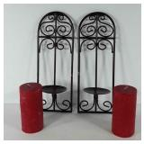 Metal wall hanging pillar candle holders (14 1/2""