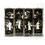 Four lacquered Asian style panels, painted with