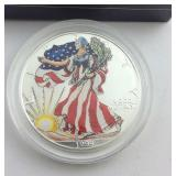 1999 Painted one Ounce .999 Silver Eagle in Box