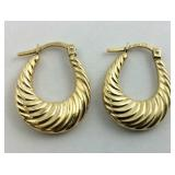 ".925 Gold over Sterling Hoop earrings 3/4"" Long"