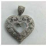 .925 Sterling Natural Diamond Accent Heart