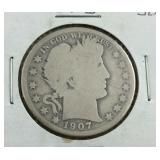 1907 O Barber Half Dollar From Estate
