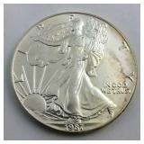 1987 One Ounce .999 Fine Silver American Eagle