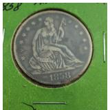 1858 Liberty Seated Half Dollar From Estate Nice