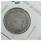 1908-D Barber Quarter Dollar From Estate