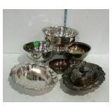 Silver plate - three Paul Revere style bowls, oval