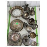 Silverplate - trays, candlestick holders, creamer