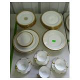 Limoges china with gold trim - mixed patterns, 27