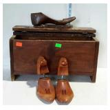 Shoe shine box with shoe stretchers - 20  x 8 x 11
