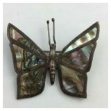 Sterling silver butterfly pin with abalone