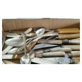 Flatware - silver plate, mother of pearl handled,