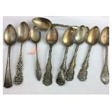 Nine sterling spoons