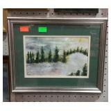 Framed and double matted forest glen print.