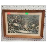 Framed Currier & Ives print. A Snowy Morning.