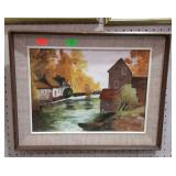 Framed painting on board. Mill on creek in fall.