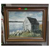 Framed painting on board. Barn on lakefront.