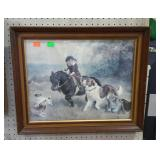 Framed print of girl on pony, running with dogs.