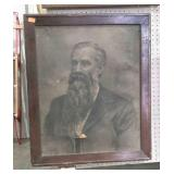Framed picture of bearded man. Charcoal drawing.