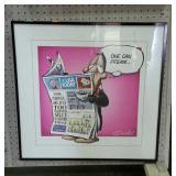 """Framed comic print. One Can Dream. 24""""×24""""."""