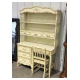 Kneehole desk with hutch top and chair 46x18x69