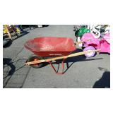 True Temper red wheel barrow