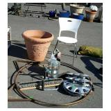 Group lot, includes flower pot, single chair, log