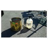 Brass bucket and hand sprayer