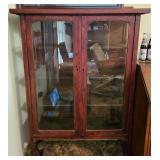 Vintage wood glass front 4 tier cabinet