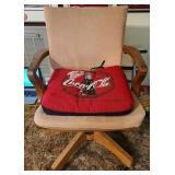Vintage tan cushions wood office chair