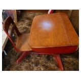 Vintage wood and metal school desk