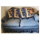 Vintage Blue Love Seat w Pillows