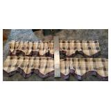Pair of Navy & Gray Checkered Curtains & Blinds