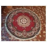Vintage Round Red, Black & Khaki Area Rug