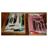 Kitchen 2 Drawer Lot of Silverware & More
