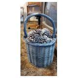 Blue Grey Basket Full of Decorative Pine Cones